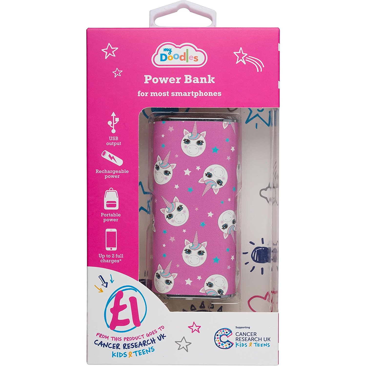 packaging batterie externe rose licorne